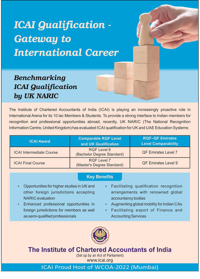 ICAI Qualification evaluated by UK, NARIC