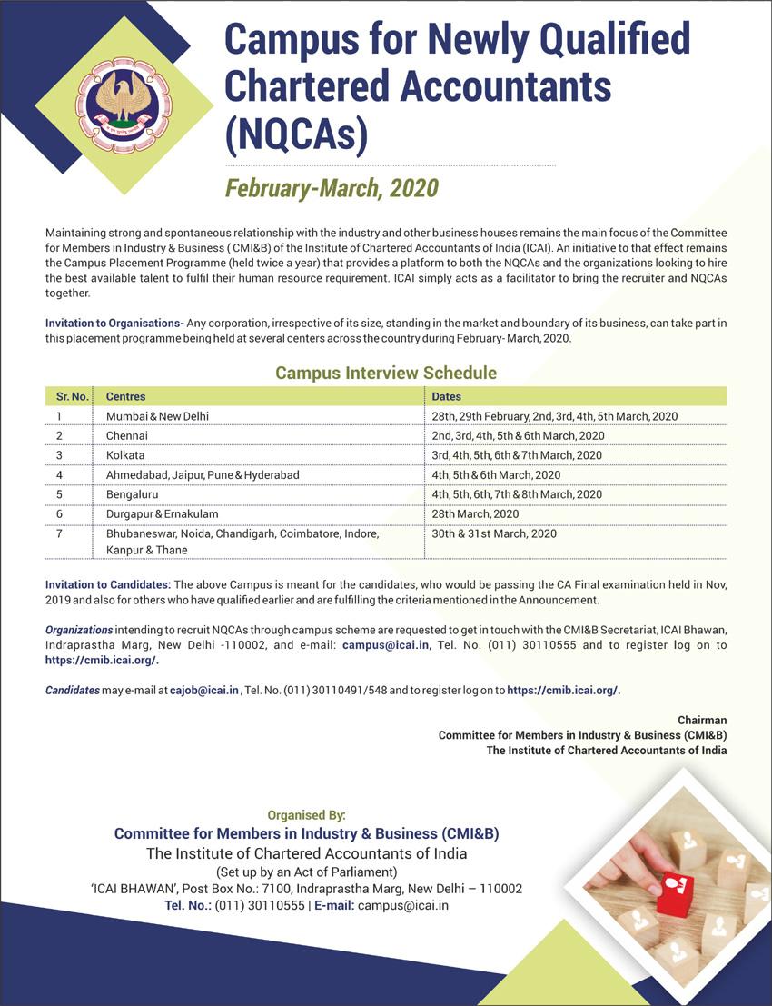 Schedule of ICAI's campus interviews