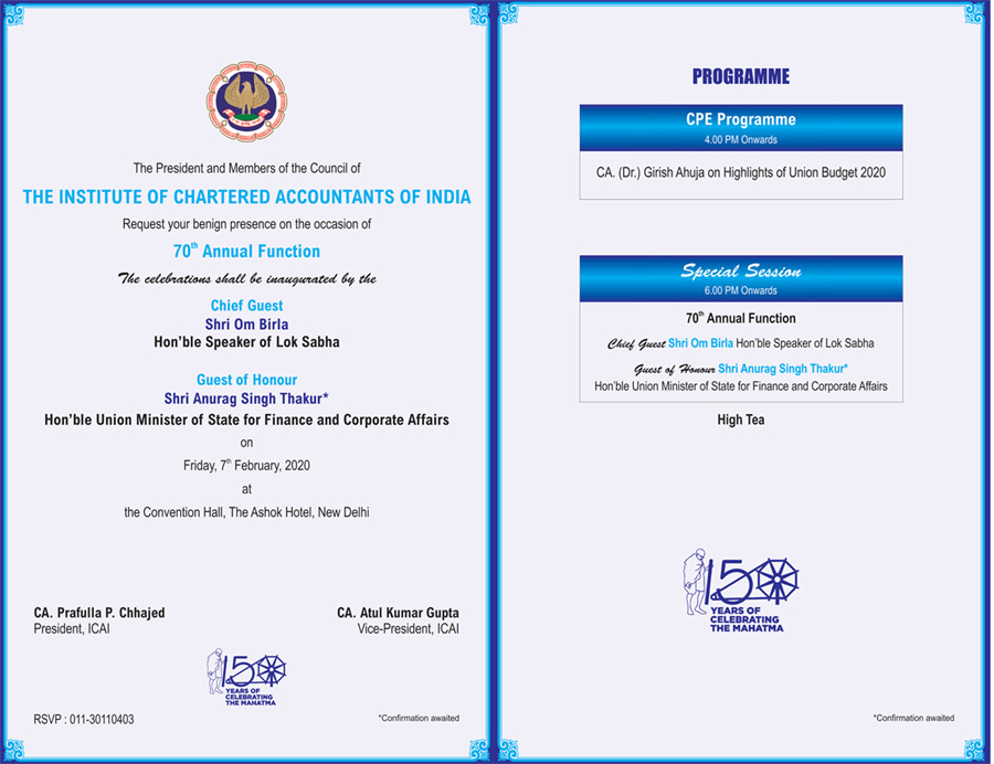 70th Annual Function of ICAI